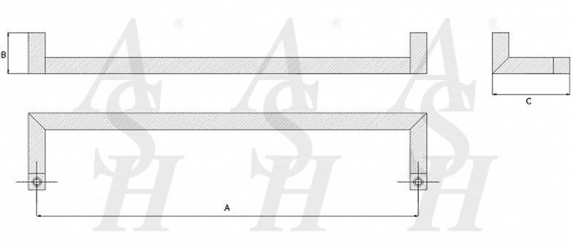 ash258.c-cranked-pull-door-handle-technical-drawing-ash-door-furniture-specialists-wm