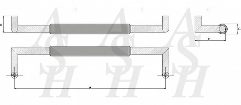 ash406ctg-combi-pull-door-handle-technical-drawing-ash-door-furniture-specialists-wm