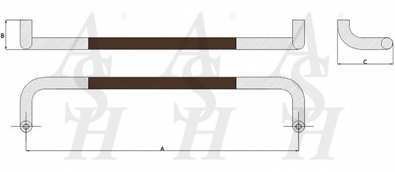 ash603-leather-clad-pull-door-handle-technical-drawing-ash-door-furniture-specialists-wm